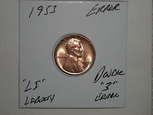 WHEAT PENNY 1953 NICE RED BU.. ERROR DOUBLE