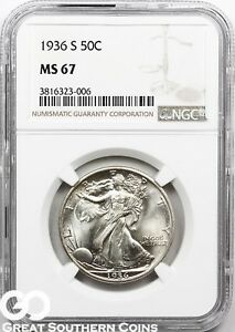 Click now to see the BUY IT NOW Price! 1936 S NGC WALKING LIBERTY HALF DOLLAR NGC MS 67    TOP POP PRICE GUIDE $13000