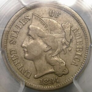 1884 THREE CENT NICKEL APPEALING MAGNIFICENT   1 700 STRUCK  PCGS XF 45