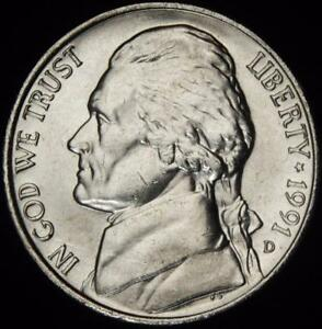1991 D CHOICE BU ALL WHITE JEFFERSON NICKEL   BEST VALUE @ CHERRYPICKERCOINS
