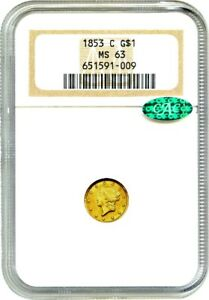 Click now to see the BUY IT NOW Price! 1853 C G$1 NGC/CAC MS63   DESIRABLE CHARLOTTE GOLD ISSUE   1 GOLD COIN