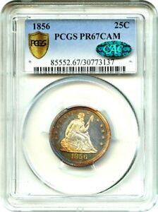 Click now to see the BUY IT NOW Price! 1856 25C PCGS/CAC PR 67 CAM   LOW MINTAGE PROOF   LIBERTY SEATED QUARTER