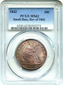 1842 50C PCGS MS62  SMALL DATE REVERSE OF 1842  PRETTY OBVERSE TONING