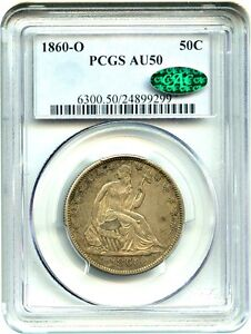 1860 O 50C PCGS/CAC AU50   GREAT TYPE COIN   LIBERTY SEATED HALF DOLLAR