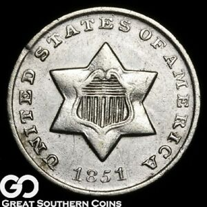 1851 O THREE CENT SILVER KEY DATE NEW ORLEANS ISSUE