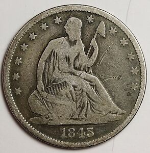 1843 O SEATED LIBERTY HALF.  V.G.  109849