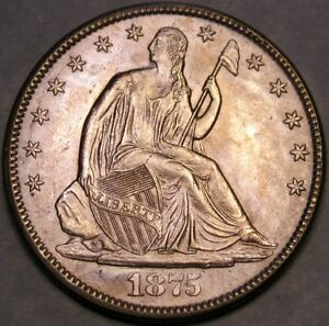 1875 LIBERTY SEATED SILVER HALF DOLLAR APPEALIN PLEASING FEATURES SHARP FEATHERS
