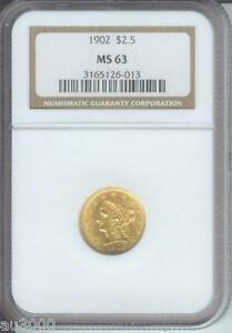 1902   1902 P   $2.5 LIBERTY QUARTER EAGLE NGC MS63 GRADED MS 63 BEAUTIFUL