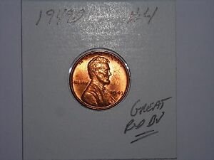 WHEAT PENNY 1949D GREAT RED BU 1949 D LOT 4 LINCOLN CENT UNC RED LUSTER