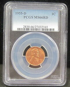 1955 D LINCOLN WHEAT CENT   PCGS   MS66  RD   2165