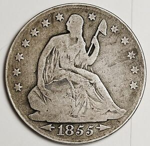 1855 O SEATED LIBERTY HALF.  V.G.  99870
