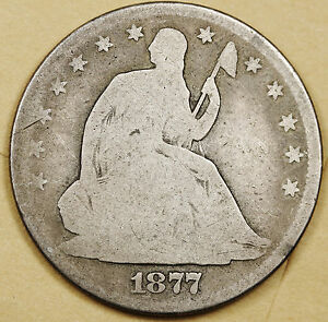 1877 LIBERTY SEATED HALF.  GOOD.  96283