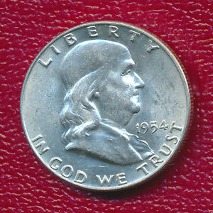 1954 D FRANKLIN SILVER HALF DOLLAR   GORGEOUS LIGHTLY CIRCULATED