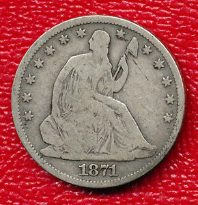 1871 S SEATED LIBERTY SILVER HALF DOLLAR   VERY NICE TONING