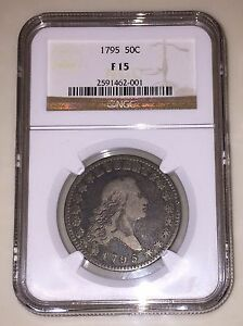 1795 FLOWING HAIR HALF DOLLAR 50C NGC F15 AMAZING QUALITY FOR THE GRADE