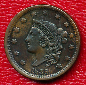 1838 CORONET HEAD LARGE CENT   VERY LIGHTLY CIRCULATED