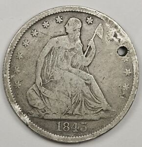 1843 O SEATED LIBERTY HALF.  V.G. DETAIL.  HOLED.  120784