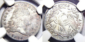 Click now to see the BUY IT NOW Price! 1794  HALF 10C NGC  AU58  FLOWING HAIR 1/2 DIME//