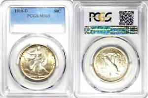Click now to see the BUY IT NOW Price! 1918 D  50C  WALKING LIBERTY HALF DOLLAR  PCGS MS 65//