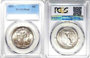 Click now to see the BUY IT NOW Price! 1919  50C  WALKING LIBERTY HALF DOLLAR  PCGS MS 66 MINTAGE OF 962 000//