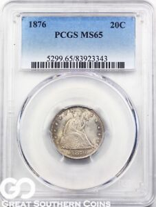 Click now to see the BUY IT NOW Price! 1876 TWENTY CENT PIECE PCGS MS 65    THIS NICE BETTER DATE PG $6250