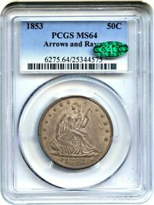 Click now to see the BUY IT NOW Price! 1853 50C PCGS/CAC MS64  ARROWS & RAYS  DESIRABLE TYPE COIN   DESIRABLE TYPE COIN