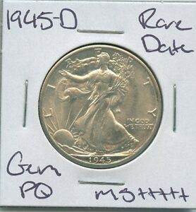 1945 D WALKING LIBERTY HALF DOLLAR  DATE SILVER US COIN GEM PQ UNC MS