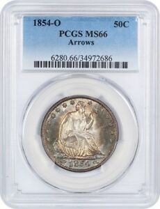 Click now to see the BUY IT NOW Price! 1854 O 50C PCGS MS66  ARROWS  BEAUTIFUL RAINBOW TONING