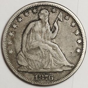 1876 SEATED LIBERTY HALF.  NATURAL FINE.  116340