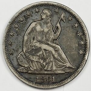 1861 SEATED LIBERTY HALF.  NATURAL X.F.  105351