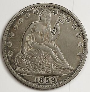 1859 SEATED LIBERTY HALF.  NATURAL A.U. DETAIL.  103280