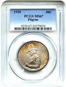 Click now to see the BUY IT NOW Price! 1920 PILGRIM 50C PCGS MS67   SILVER CLASSIC COMMEMORATIVE