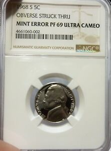 Click now to see the BUY IT NOW Price! 1968 S JEFFERSON NICKEL  NGC  HIGHEST GRADE& MINT ERROR ULTRA CAMEO PROOF 69