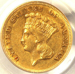 1868 $3 AU55 PCGS CAC ONLY 143 IN HIGHER GRADE
