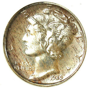 Click now to see the BUY IT NOW Price! 1939 10C PR68 ANACS NICE COLOR TONING ERROR BACK CENTER   MERCURY DIME
