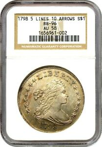 Click now to see the BUY IT NOW Price! 1798 $1 NGC AU58  LARGE EAGLE 5 LINES 10 ARROWS BB 96  LUSTROUS AU