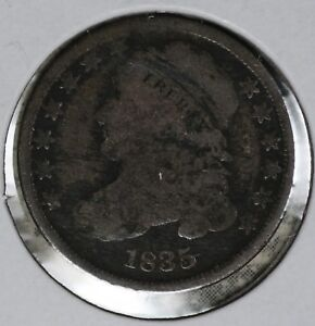ORIGINAL PROBLEM FREE 1835 CAPPED BUST DIME   G/VG COIN