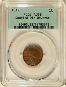 Click now to see the BUY IT NOW Price! 1917 DOUBLED DIE OBVERSE 1C PCGS AU 58   MAJOR LINCOLN CENT VARIETY