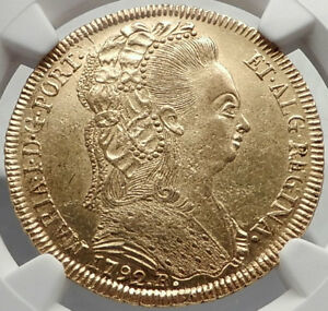 Click now to see the BUY IT NOW Price! 1791 BRAZIL QUEEN MARIA I ANTIQUE GOLD 6400 REIS BRAZILIAN COIN NGC MS I70401
