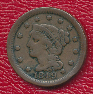 1849 BRAIDED HAIR LARGE CENT   WONDERFUL TYPE COIN