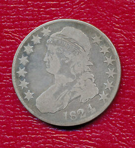 1824 CAPPED BUST SILVER HALF DOLLAR   VERY NICE CIRCULATED