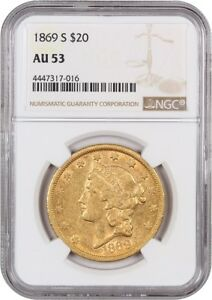 1869 S $20 NGC AU53   POPULAR S MINT TYPE 2   LIBERTY DOUBLE EAGLE   GOLD COIN