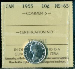 1955 CANADA QUEEN ELIZABETH II TEN CENT ICCS MS 65  XZM 520
