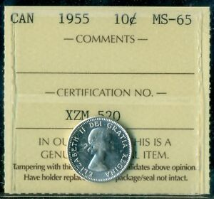 1955 CANADA QUEEN ELIZABETH II TEN CENT ICCS MS 65  XZM 511