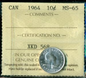 1964 CANADA QUEEN ELIZABETH II TEN CENT ICCS MS 65