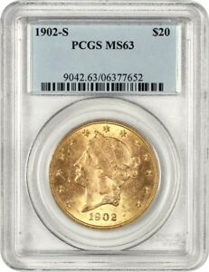 1902 S $20 PCGS MS63   LIBERTY DOUBLE EAGLE   GOLD COIN
