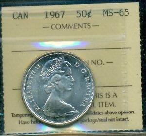 Click now to see the BUY IT NOW Price! 1967 CANADA QUEEN ELIZABETH II FIFTY CENT PIECE ICCS MS 65 CERTIFIED