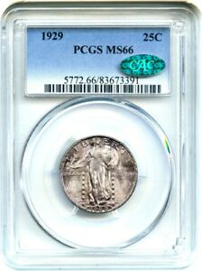 1929 25C PCGS/CAC MS66   GORGEOUS TYPE COIN   STANDING LIBERTY QUARTER