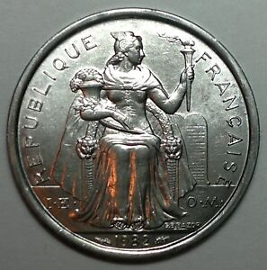 1982 FRENCH POLYNESIA 1 FRANC COIN SAILING BOAT UNC FROM BANK ROLL