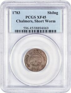Click now to see the BUY IT NOW Price! 1783 CHALMERS SHILLING PCGS XF45  SHORT WORM  CHOICE COLONIAL ISSUE